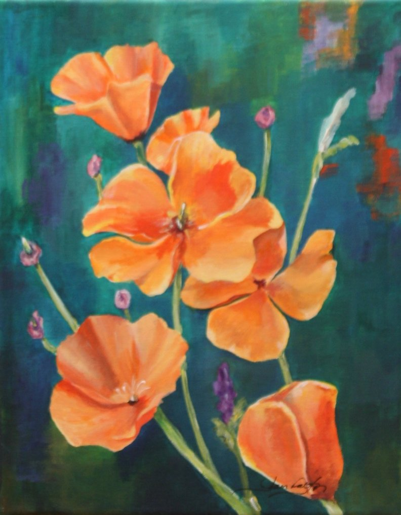 Original Acrylic Painting Orange Poppies Jan Dalton Art