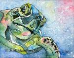 Sealife Logerhead Turtle original Art Watercolor Batik