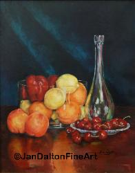Traditional Oil Painting Fruit in Glass Cherries glass decantar