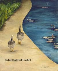 Oil Painting Goose Walk Wildlife Lily Pond