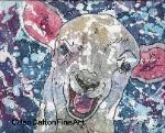 lamb farm animal watercvolor batik original art