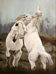Oil Painting of Wild  Horses
