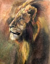 Oil Pastel wild life art Majestic Lion
