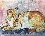 Watercolor on Rice Paper Batik Orange Kitty Cat Art