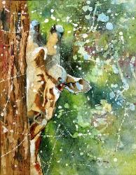Batik Watercolor on Rice Paper Peek-A-Boo Giraffe Wild LIfe Art