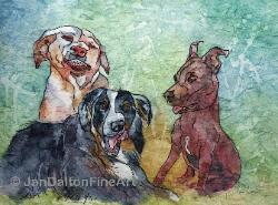 Watercolor Batik Silly Dawgs Caricatures